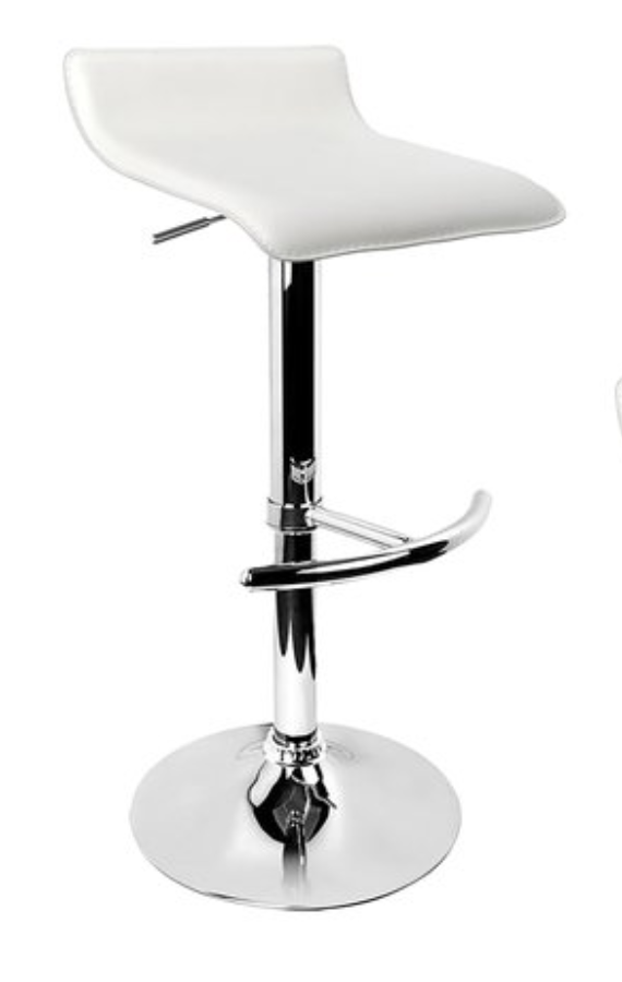 Stool - Bar - Low Back - White and Chrome